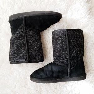 MINNETONKA Black Knit Shearling Line MidCalf Boots